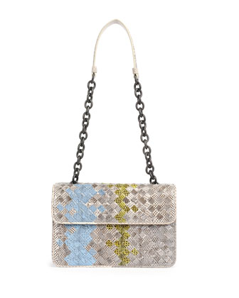 Small Woven Snake Shoulder Bag, White