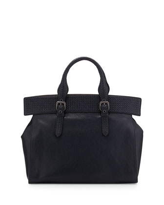 Madras Large Top-Handle Tote Bag, Dark Blue