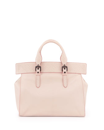 Madras Large Top-Handle Tote Bag, Pale Pink