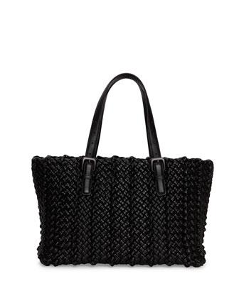 Lido Medium Woven Tote Bag, Black