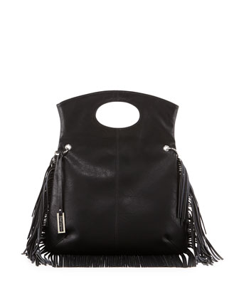 Style Icon Fringe-Trimmed Shoulder Bag, Black