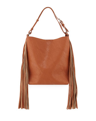 Avoca Fringe-Trimmed Faux-Leather Shoulder Bag, Tan