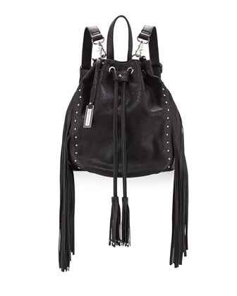 Forbidden Fringe Bucket Backpack, Black