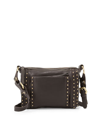 Pamela Studded Crossbody Bag, Chocolate