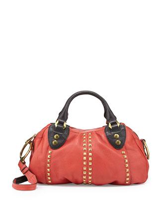 Mariah Studded Small Satchel Bag, Crimson
