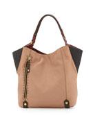 Aquarius Colorblock Shopper Tote Bag, Nude Multi