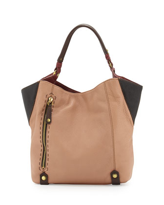 Aquarius Colorblock Shopper Tote Bag, Nude Multi