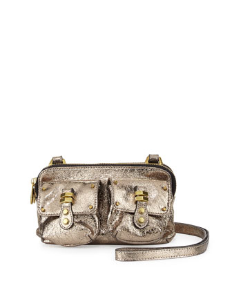Monica Metallic Leather Crossbody, Platinum