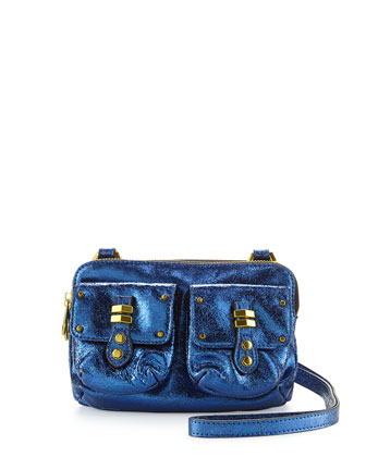 Monica Metallic Leather Crossbody, Blue
