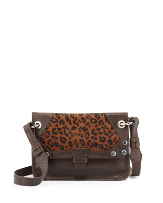Bella Calf Hair Crossbody Bag, Brown