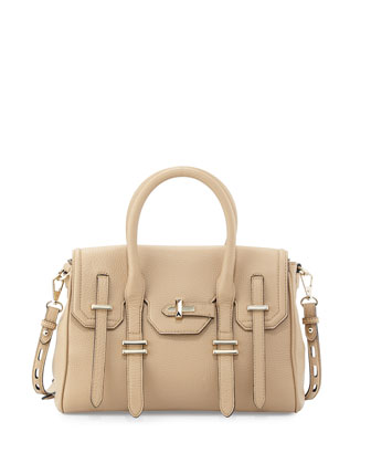 Jules Pebbled Leather Mini Satchel Bag, Biscuit