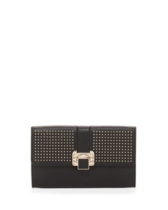 Coco Studded-Flap Faux-Leather Clutch Bag, Black