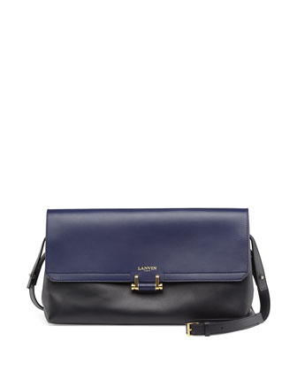 Bicolor Calfskin Clutch Bag, Black