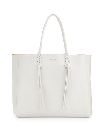 Leather Fringe Tote Bag, White