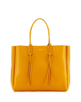 Leather Fringe Tote Bag, Yellow