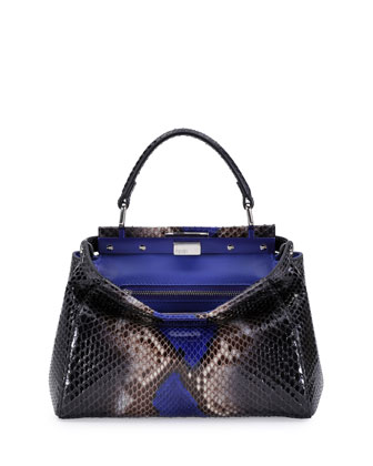Peekaboo Mini Python Satchel Bag, Black/Cobalt