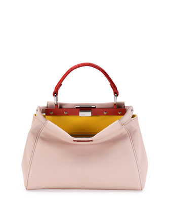 Peekaboo Mini Tricolor Satchel Bag, Light Pink/Yellow/Orange