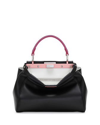 Peekaboo Mini Tricolor Satchel Bag, Black/Red/Fuchsia
