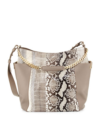 Anna Python Shoulder Bag, Natural