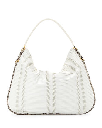 Zoe Large Pleated Hobo Bag, White