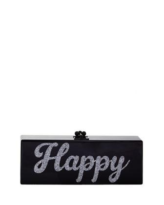 Flavia Acrylic Happy Clutch Bag, Black/Silver