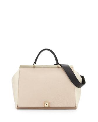 Cortina L Top-Handle Satchel Bag, Nude/Taupe