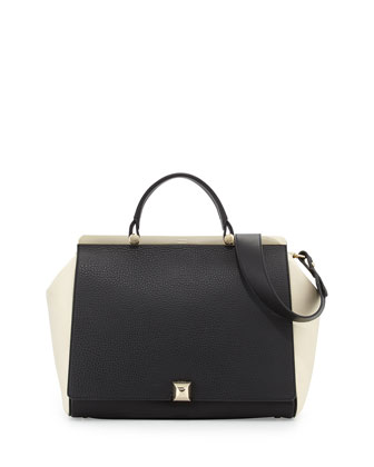 Cortina L Top-Handle Satchel Bag, Onyx