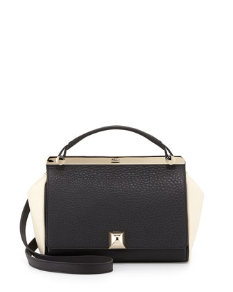 Cortina Colorblock Grainy Leather Shoulder Bag, Onyx/Cream