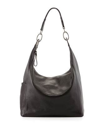Le Foulonne Leather Hobo Bag, Black