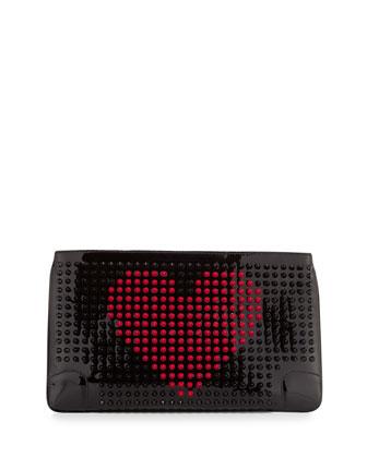 Loubiposh Valentines Spike Clutch, Black/Fuchsia