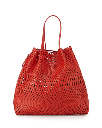 Pamina Woven Leather Tote Bag w/ Wallet, Red