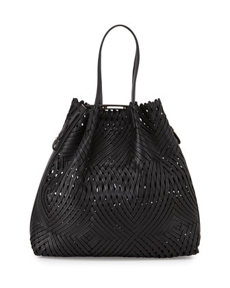 Pamina Woven Leather Tote Bag w/ Wallet, Black