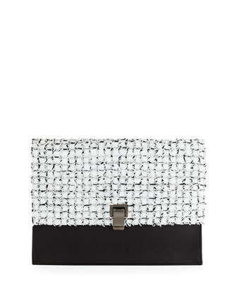 Woven Large Lunch Bag Clutch, White/Black
