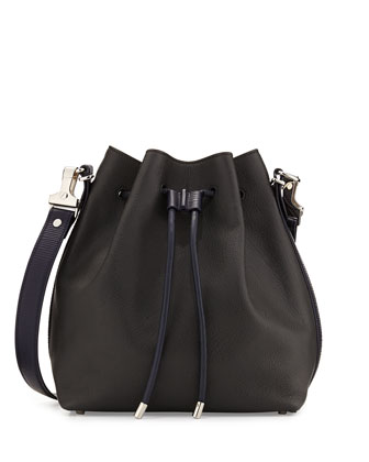 Medium Bicolor Bucket Bag, Gray/Navy