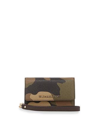 Camo-Print Saffiano Phone Wallet