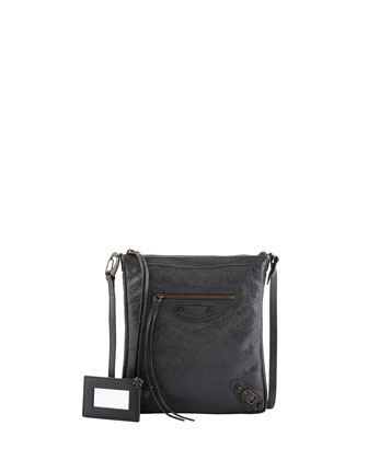 Classic Flat Crossbody Bag, Dark Gray