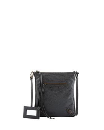 Classic Flat Crossbody Bag, Dark Gray