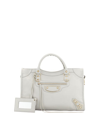 Classic Chevre Grainee City Bag, Light Gray