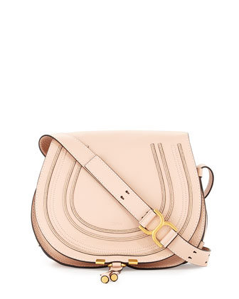 Marcie Horseshoe Crossbody Satchel Bag, Blush Nude