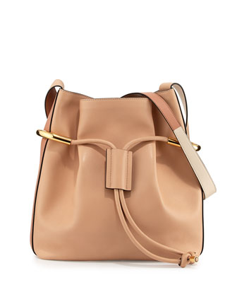 Emma Small Drawstring Shoulder Bag, Blush Nude
