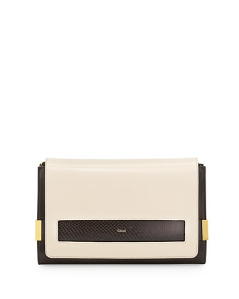 Elle Large Snake/Lambskin Clutch Bag, Black/White
