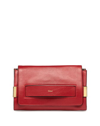 Elle Clutch Bag with Shoulder Strap, Red