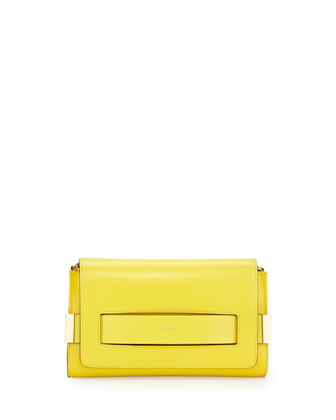 Elle Clutch Bag with Shoulder Strap, Yellow