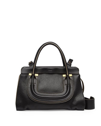 Everston Medium Double Satchel Bag, Black