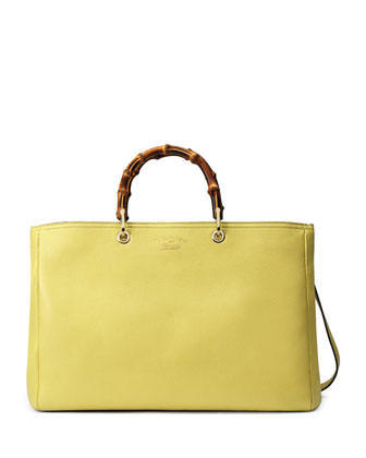 Bamboo Large Shopper Tote Bag, Citrus Green
