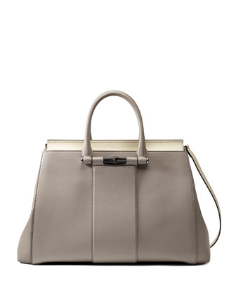Lady Two Tone Tote Bag, Gray/White