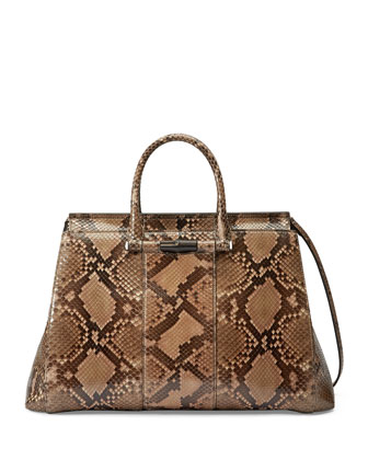 Lady Python Tote Bag, Beige/Brown