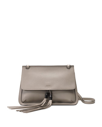 Bamboo Daily Leather Flap Shoulder Bag, Light Gray