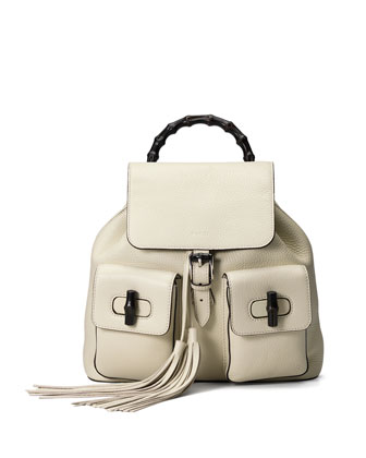 Bamboo Sac Leather Backpack, White