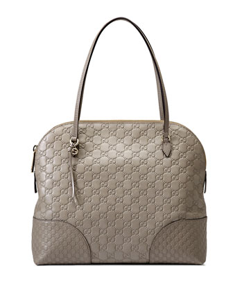 Bree Guccissima Leather Shoulder Bag, Light Grey